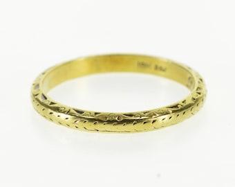 18k Ornate Leaf Patterned Wedding Band Ring Gold