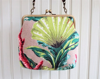 """Chartreuse Turquoise Pink Shell Coral Seaweed on Taupe Ground Vintage Barkcloth Fabric 8"""" Antique Brass Kisslock Frame Crossbody Bag Purse"""