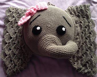 Crochet elephant pillow, elephant pillow, Josephina the elephant, decorative pillow, nursery decor