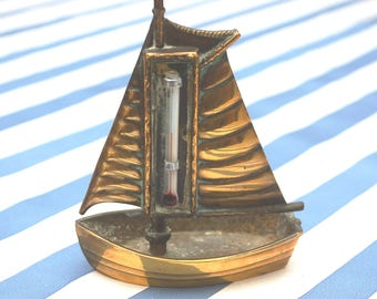 Vintage Novelty Brass Sail-Boat Thermometer