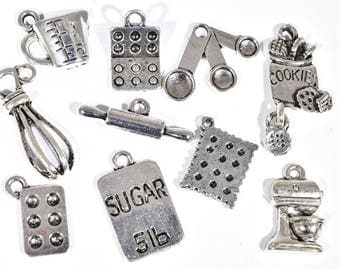 Baking Charm Collection - 10 Bakers Charms - Cooking Charms - Food Charm -  Cooks Charms