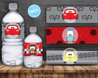 """DIY PRINTABLE Cars Water Bottle Labels   8.5"""" x 2"""" Inch   Lightning McQueen birthday - Baby Shower decor   Disney Cars party printables!"""