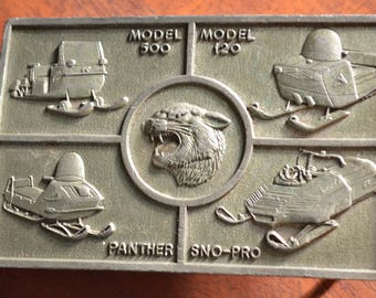70s Pewter,R and S,Mens Buckle,Arctic Cat,Snow-Pro,Snow Mobile,Vintage Buckle,Square Buckle,Panther,Snow Pro,Arctic Cat,Model 500,Model 120