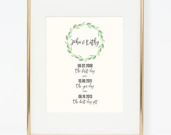 Personalized Greenery Special Dates Wedding Poster