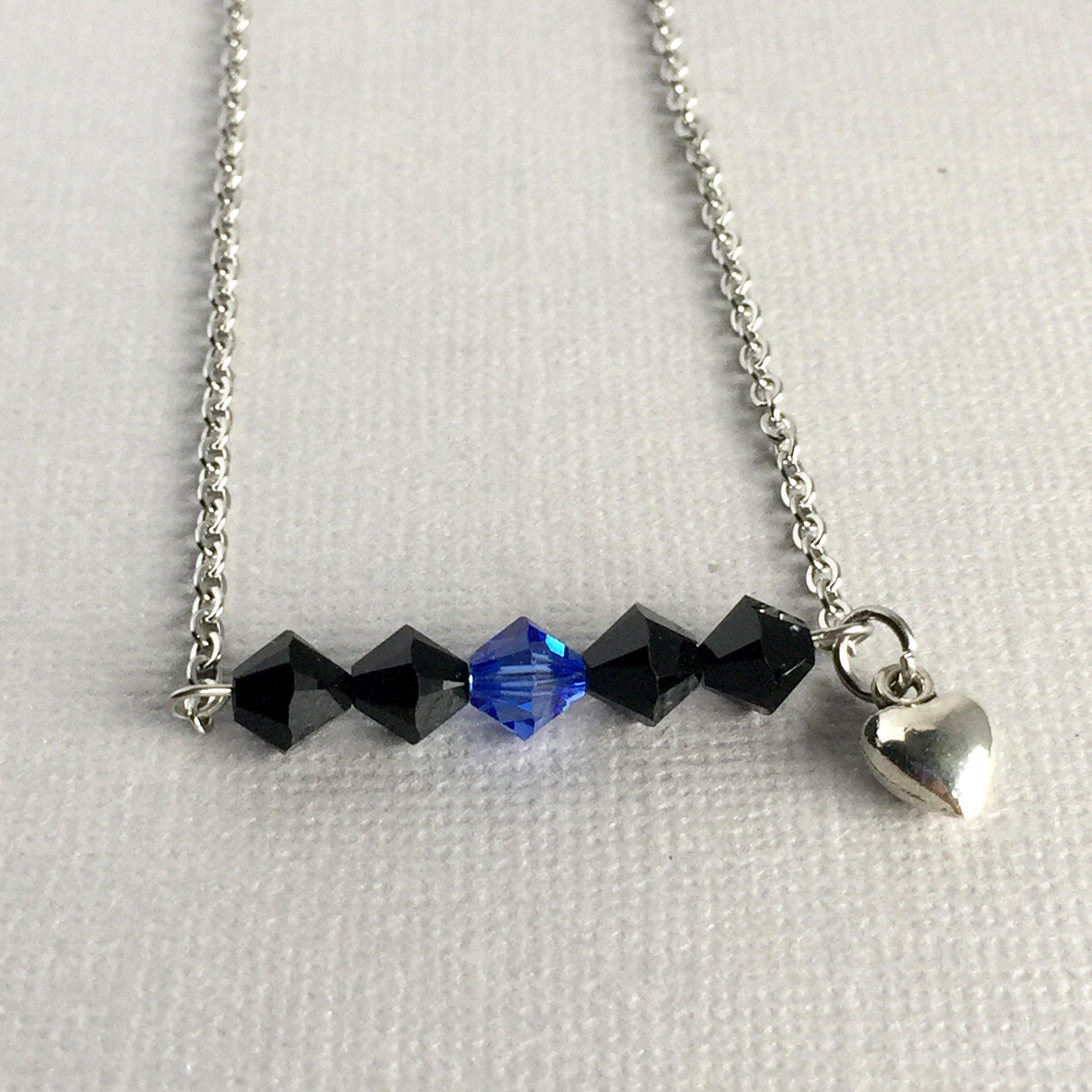 police wife necklace thin blue line police wife jewelry. Black Bedroom Furniture Sets. Home Design Ideas
