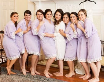 Bridesmaid Gifts Embroider Cotton Lace Robes 6, Bridal Party Cotton Robes, Monogram Robes, Lace Kimono Robes, Wedding Robes Set