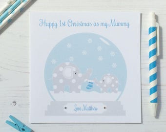 Handmade Personalised 1st First Christmas As My Mummy Or Daddy Card Pink Blue Babys