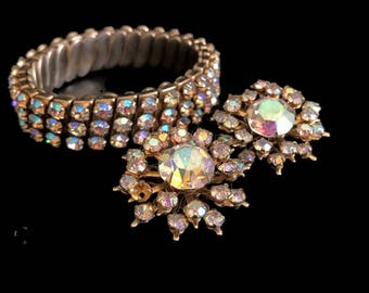 Vintage Rhinestone Stretch Bracelet and Clip On Earring Set Aurora Borealis Rhinestone Jewelry Set Non Pierced Earrings Expansion Bracelet