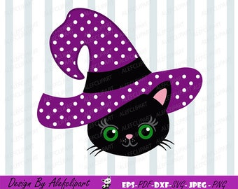 Halloween witch black cat SVG DXF Halloween Silhouette & Cricut Cut Files Personal and Commercial Use