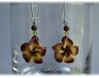 Brown polymer clay Flower Earrings,