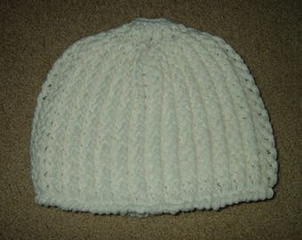 Hand Crocheted Messy Bun Hat~White~Size Medium