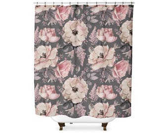 Grey and Pink Floral shower curtain