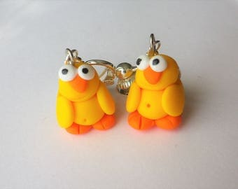 and the chick birdie Tweety Easter earrings polymer clay funny eyes
