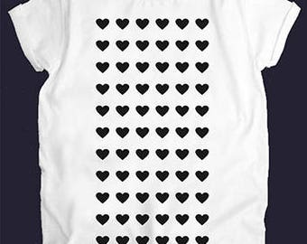 Heart White Women Top T-shirt Tees Casual Street Style