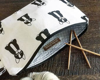Retro Bulldog 2 Skein Size STURDY Textured Linen Cotton Black Zip Project Bag with Handle for Knitters / Crafters