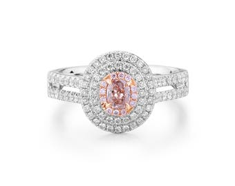 Oval Cut Pink Diamond, Double Halo, 18K White Gold,  Engagement Ring, Art Deco Natural Diamond Ring Custom Gold Jewelry anniversary gift