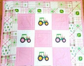 Quilt Baby John Deere Tractor Baby Girl Applique Quilt