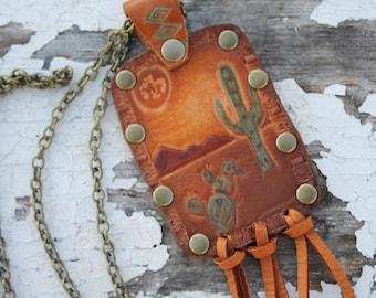 Leather  Dessert Night Necklace Southwestern, Western, Bohemian Handcrafted Jewelry
