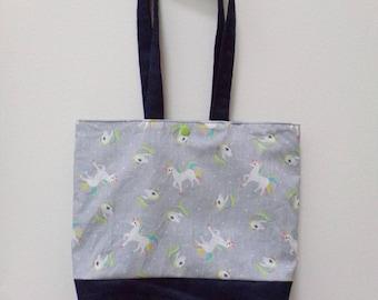 Kids Tote Bag pattern unicorns grey background