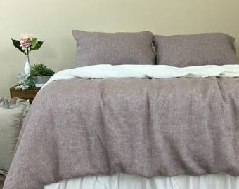 Chambray Rustic Raspberry Linen Duvet Cover –Chambray Rustic Style.