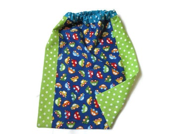 towel canteen elasticated, kindergarten, cars, dots, blue, green