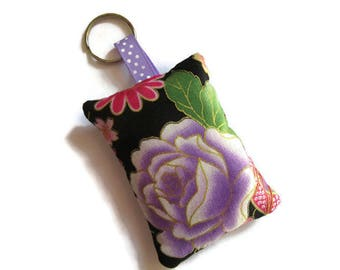 rectangular keychains Japanese fabric black fabric, pink and purple violet