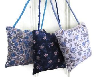 Lavender sachets, set of 3, door decoration, flowers, liberty, blue, white