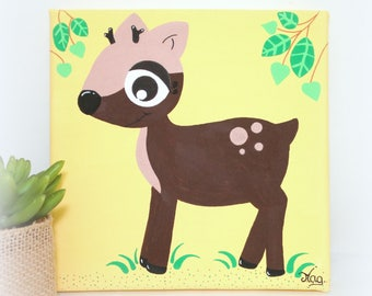 Picture DOE for kid's room, Tableau Fawn animal forest for nursery decoration, little Fawn 20x20cm