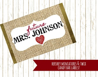 Bridal Shower Favor, Chocolate Labels, Future Mrs., Twix Label, Hershey Miniatures, Personalized Chocolate Bar, Printable Label, PDF Label
