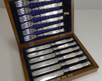 Fine Set Silver Plate and Mother of Pearl Fruit / Desert Knives and Forks