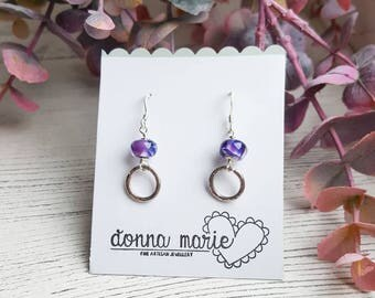 Purple Hoop Earrings - Silver Beaded Earrings - Patterned Bead Earrings - Delicate Silver Hoops - Gifts for Her - Valentines Gift - Earrings