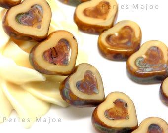 2 Brown and beige glass Czech heart beads opaque size 14 x 12 mm
