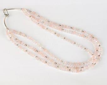 Pink quartz necklace, Rose quartz necklace, Three layered quartz necklace, Three strands gemstone necklace, Silver necklace, Pink necklace