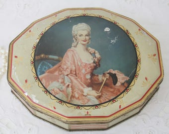 Lovely Vintage Oval Chocolate Tin with Victorian Age Woman Decor