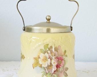Lovely Antique English Biscuit Barrel, Rose Decor, England