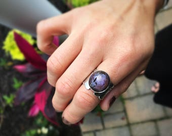 Star Ruby Ring, Statement Ring, Ruby, Purple Stone, Sterling Silver Ring, Size 8.5, Handmade, Natural Stone, Handmade Ring, Thick Band Ring