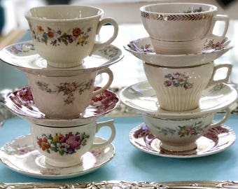 Shabby Chic Decor 6 Mismatched Tea Cups, Vintage China Teacups, Mismatched China, Bridal Shower Tea, Cups for Crafts, Farmhouse Wedding