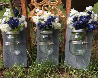 Mason jar  wall decor, hanging mason jar wall vase , rustic wall sconces, farmhouse decor, set of 3 wall vases, weathered gray