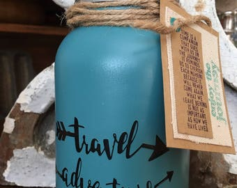 Travel Adventure fund Mason Jar Bank-mason jar travel-bank-mason jar adventure fund bank-bank- mason jar travel bank-adventure fund-vacation