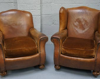 Vintage Pair of Brown Leather Arm Chairs