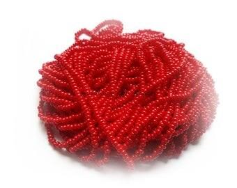 1 Hank Size 11/0 OPAQUE DARK RED Preciosa Czech Glass Seed Beads - Approx. 3905 beads