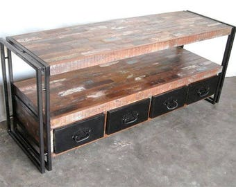 Stand Tv Media Console Industrial Buffet Reclaimed Wood Drawers