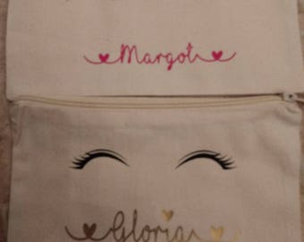Eyelashes personalised make up bag, hen party, gift for her, batchelorette party, bridesmaid gift, bride gift, make-up, makeup, cosmetic bag