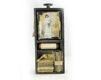 Jenny Kiss'D Me Encaustic Assemblage — Romantic Poetry Assemblage — Love Letters Poetry Assemblage
