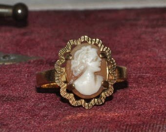 15 % SALE Antique French Cameo Ring Gold Plated, Lady Female Cameo, Vintage gold-plated, Woman's Ring French Wedding, Hallmarks, Made in Fra