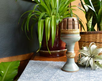 Vintage Studio Pottery Tabletop Two Piece Candle Holder // Stoneware Pottery Candle Holder // Vintage Pottery Pillar Candle Holder