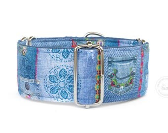 """Purely casual, jeans look, dog collar, wide sighthound collar, 2"""" martingale, 1.4"""" martingale, 1"""" martingale"""