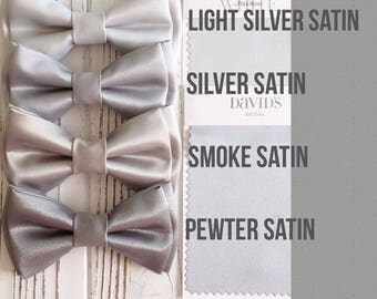 Mystic bow tie- Grey satin bowtie - Daddy and son -Groom's bowtie- Groomsmen bowties- silver bowties-grey bow ties- mercury bow tie