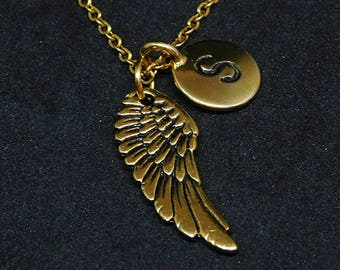 Golden Wing with Initial necklace, initial charm, personalized jewelry, wing necklace, wing pendant, wing charm