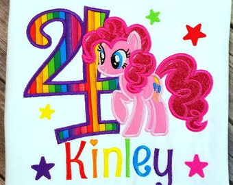 Pinkie Pie from My little pony birthday shirt. Pick your pony,  thread colors as well as fabric colors!